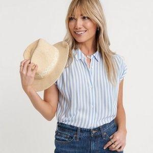 Lucky Brand Blue White Stripe Button Up Shirt